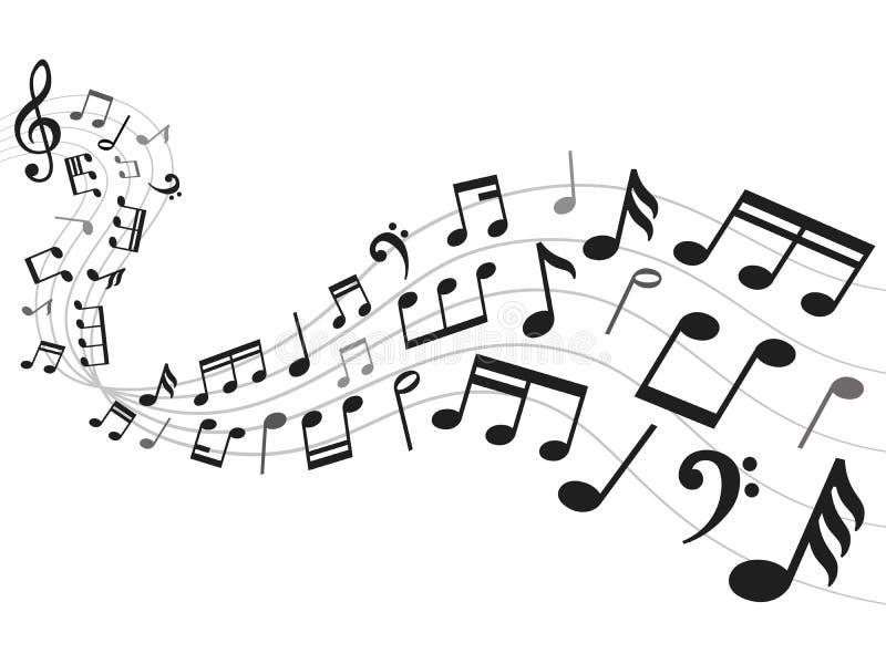 Fundo das notas musicais Folha da notação de música, melodia sadia e ilustração do vetor dos símbolos da nota ilustração royalty free