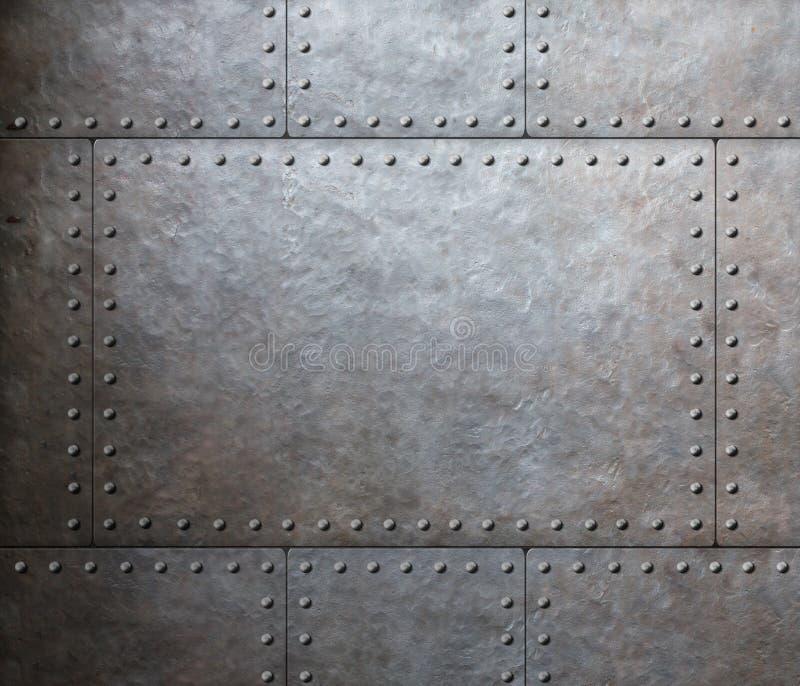 Fundo das placas de armadura do metal foto de stock