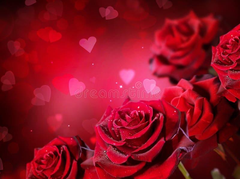 Fundo das rosas e dos corações imagem de stock