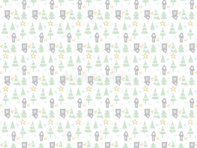 Fundo de ícones de Natal com Árvore de Ano Novo, Neve e Estrelas Wallpaper Feliz de Férias de Inverno com elementos do Nature Dec ilustração do vetor