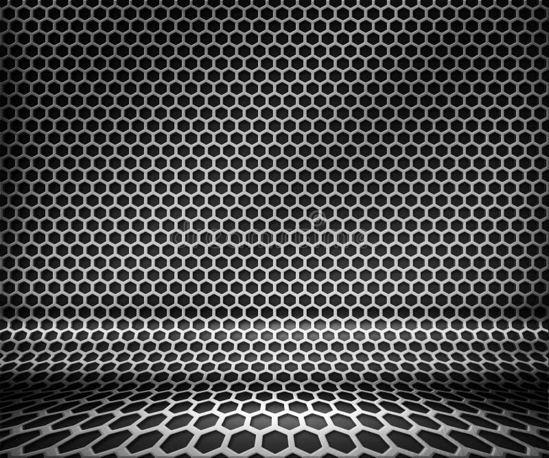 Fundo de aço da grade do Hex do metal ilustração do vetor