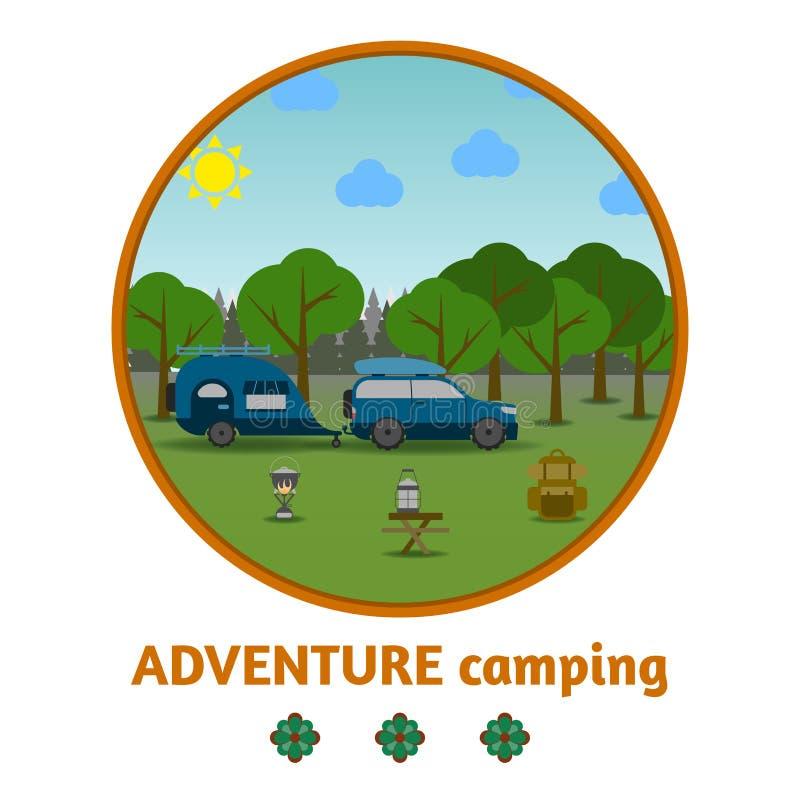 Fundo de acampamento da floresta, com material e carro ilustração do vetor