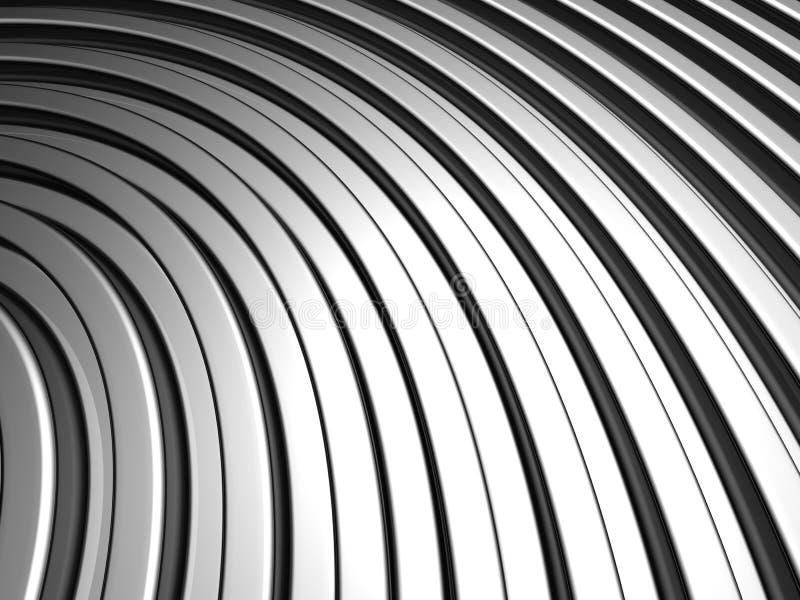 Fundo de alumínio da listra da prata da forma da curva ilustração royalty free