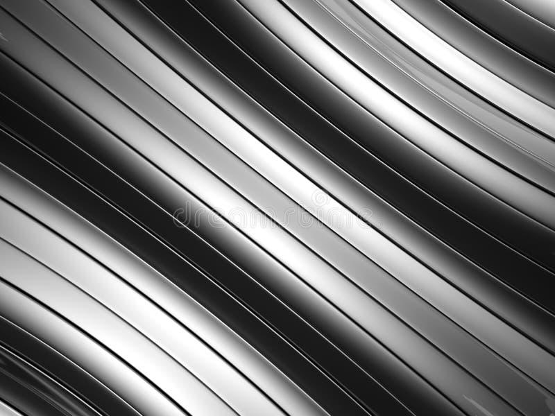 Fundo de alumínio de prata abstrato da listra da curva ilustração stock