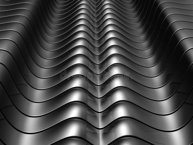 Fundo de alumínio de prata abstrato da listra da curva ilustração royalty free