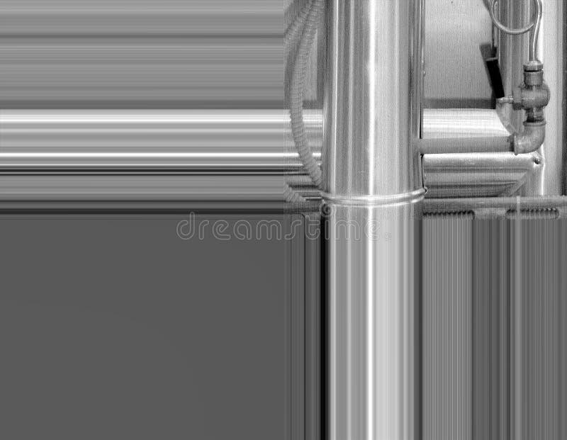 Fundo de alumínio preto e branco Tubulações do metal e componentes tecnologicos abstratos Conceito industrial imagem de stock