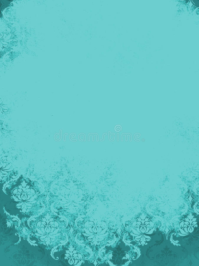 Fundo de Aqua Teal Blue Vintage Damask imagem de stock