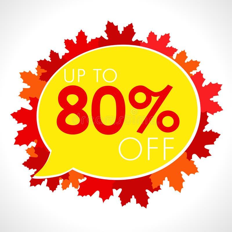 Fundo de Autumn Sale com queda folhas vermelhas e alaranjadas ilustração stock