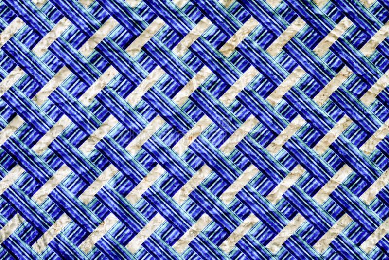 Fundo de bambu do Weave do grunge azul abstrato do teste padrão imagens de stock royalty free