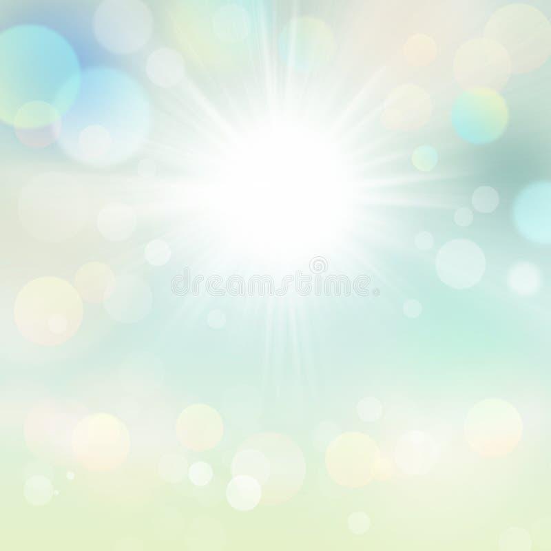 Fundo de Bokeh do feriado de Sunny Green Spring Nature Sun ilustração do vetor