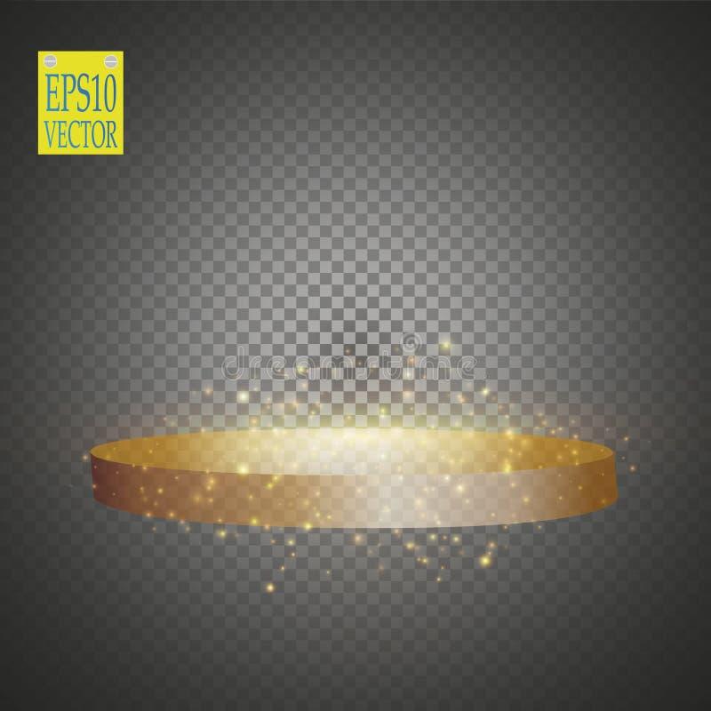 Fundo de brilho abstrato do pódio com projetores Cena de brilho do ouro Você ganha o luxo, o sucesso e o projeto do tesouro ilustração do vetor