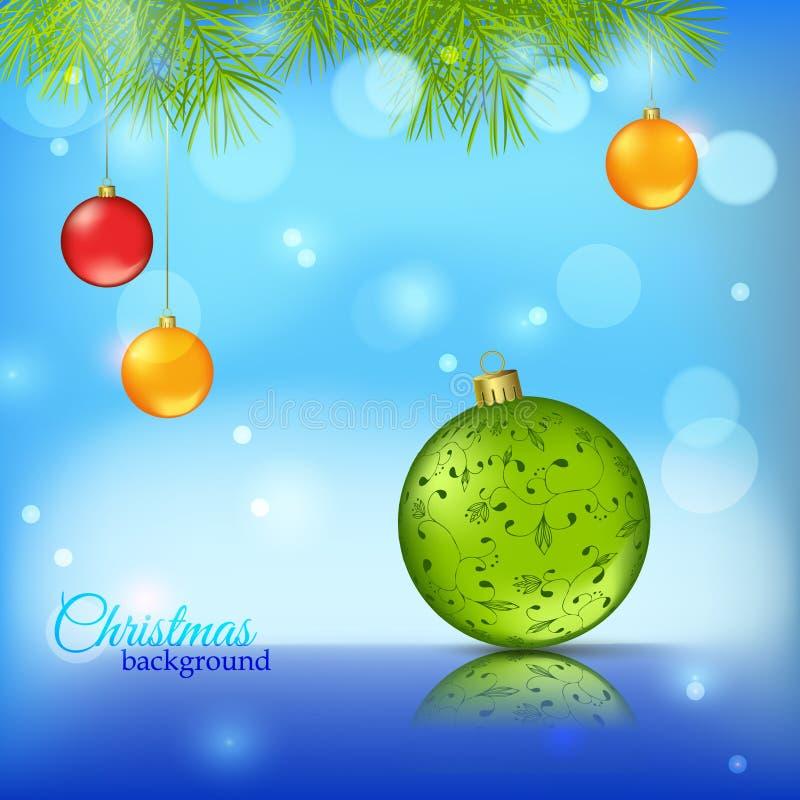 Fundo de brilho azul com bolas do Natal ilustração royalty free