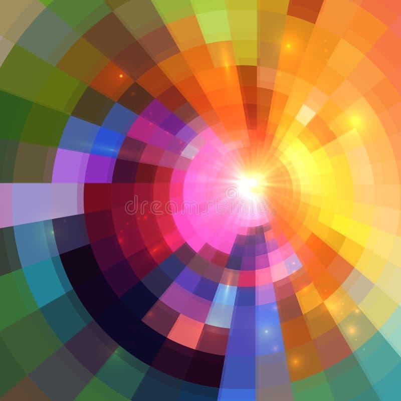 Fundo de brilho colorido abstrato do túnel do círculo ilustração do vetor