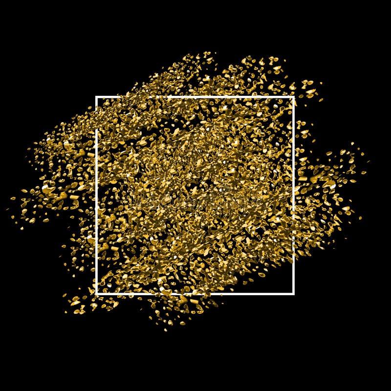 Fundo de brilho dourado com quadro branco fotos de stock royalty free
