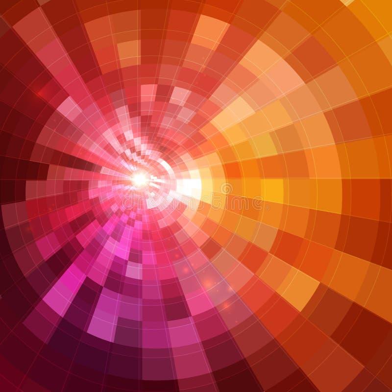 Fundo de brilho vermelho abstrato do túnel do círculo ilustração do vetor