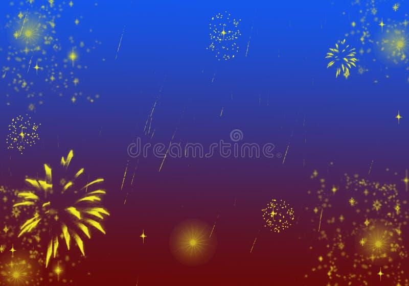 Fundo de Brown azul com os fogos de artifício da estrela dos Sparkles ilustração royalty free
