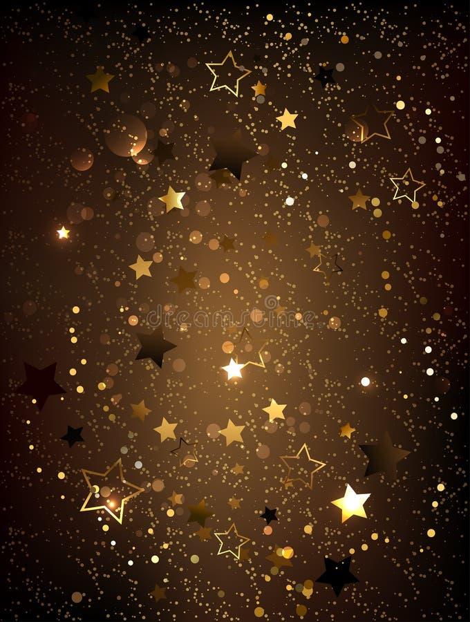 Fundo de Brown com estrelas ilustração stock