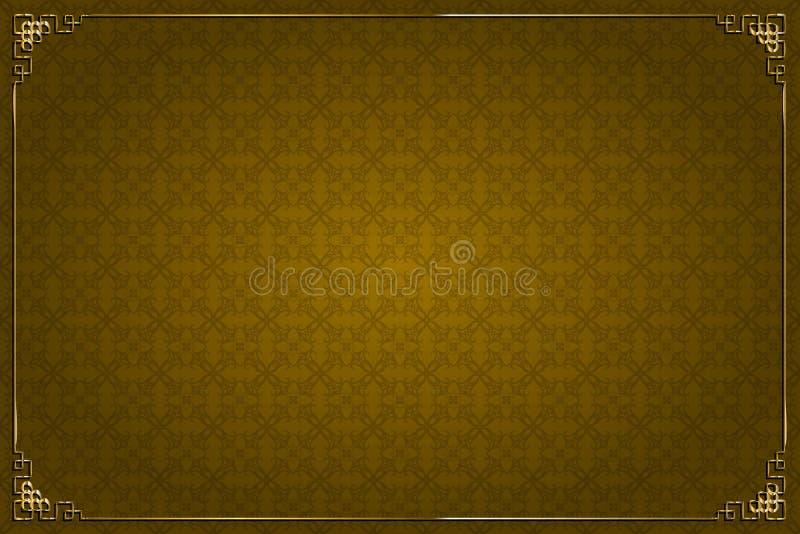 Fundo de Brown e decoração chineses do ouro ilustração stock