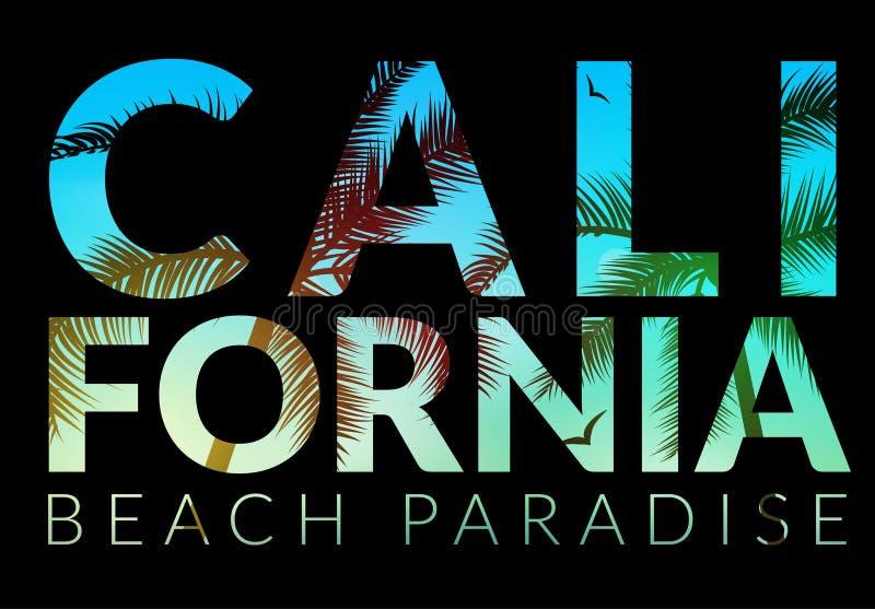 Fundo de Califórnia com palma Praia do fundo do vetor Projeto tropical da bandeira do verão Ilustração do molde do cartaz do para ilustração stock