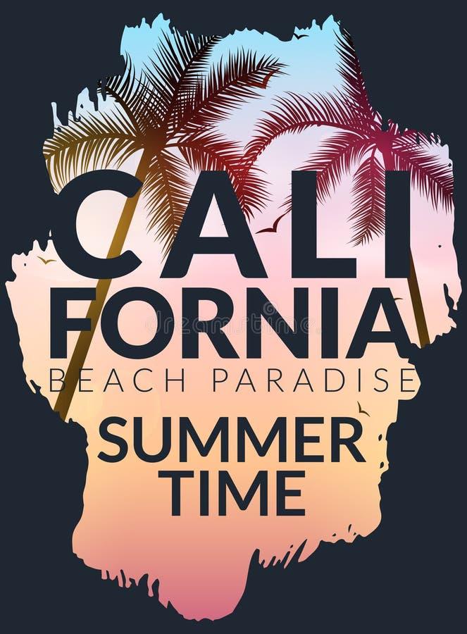 Fundo de Califórnia com palma Praia do fundo do vetor Projeto tropical da bandeira do verão Ilustração do molde do cartaz do para ilustração do vetor