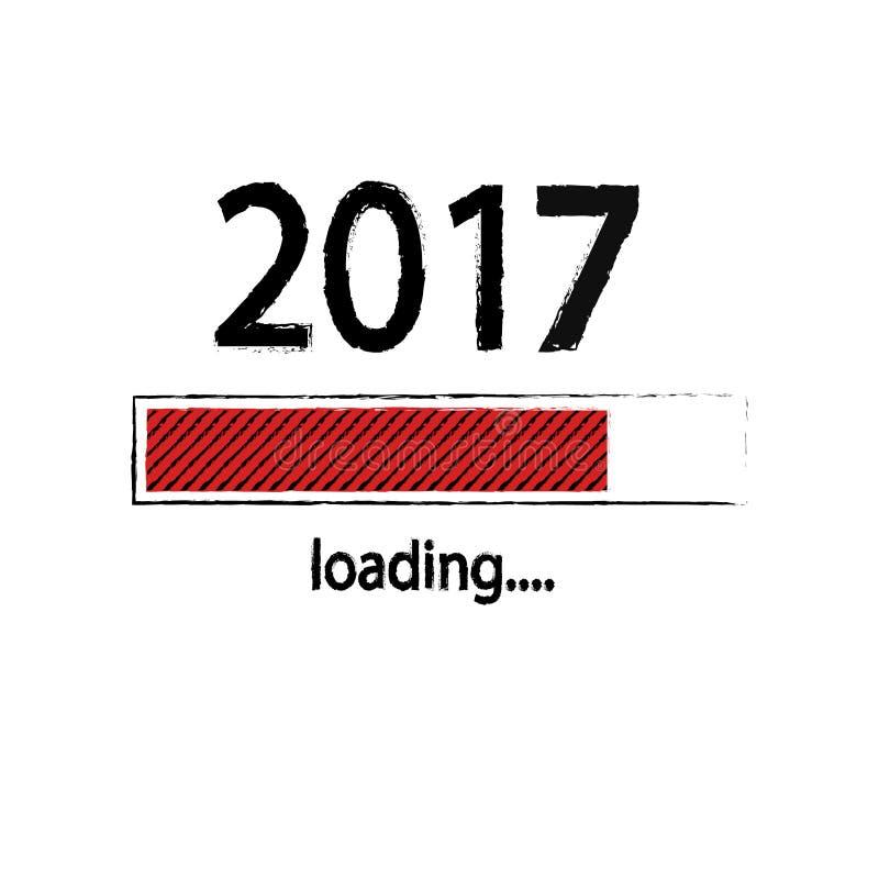 Fundo de carregamento do ano novo 2017, ano novo feliz Conceito do negócio engraçado: carga do correio ilustração do vetor
