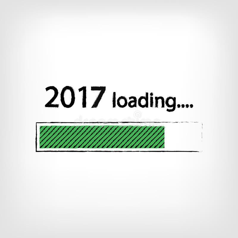 Fundo de carregamento do ano novo 2017, ano novo feliz Conceito do negócio engraçado: carga do correio ilustração royalty free