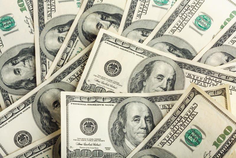 Fundo de cem notas de dólar para o projeto fotografia de stock