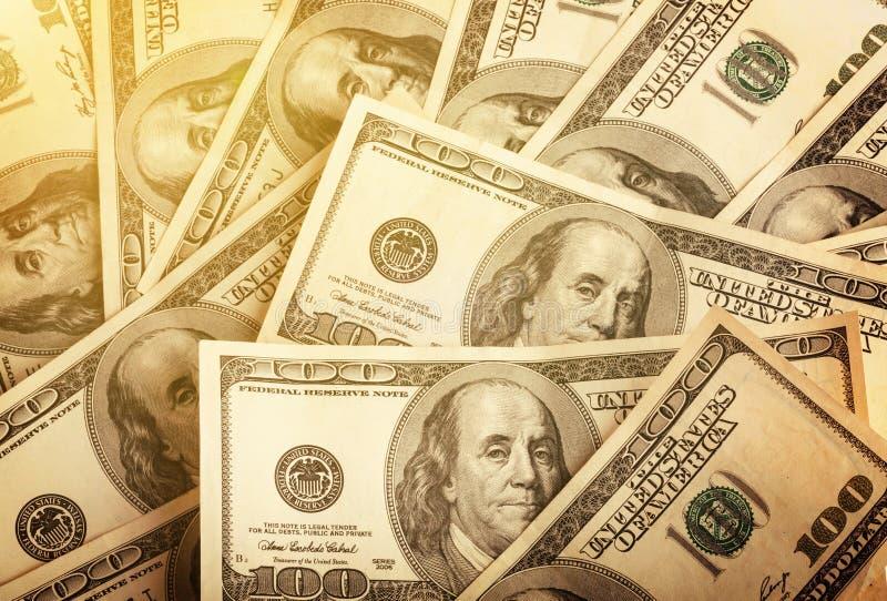 Fundo de cem notas de dólar para o projeto fotografia de stock royalty free
