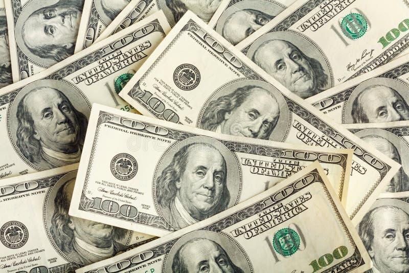 Fundo de cem notas de dólar para o projeto imagens de stock royalty free