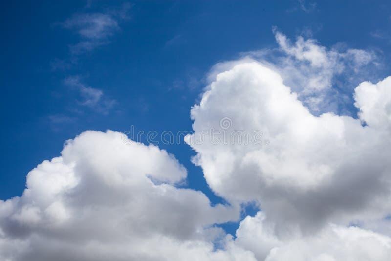 Fundo de Cloudscape Fundo do céu azul com nuvens brancas Céu após chover Feche acima da ideia do fundo bonito do céu azul imagens de stock