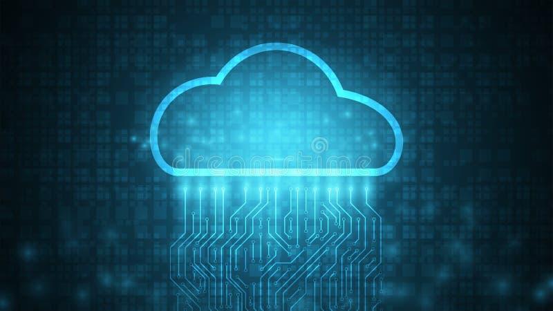 fundo de computação do armazenamento de dados da tecnologia da nuvem, transferência de dados ilustração royalty free