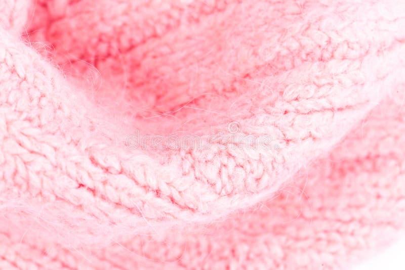 Fundo de confecção de malhas cor-de-rosa da textura de lãs Horizonte feito malha colorido imagens de stock royalty free