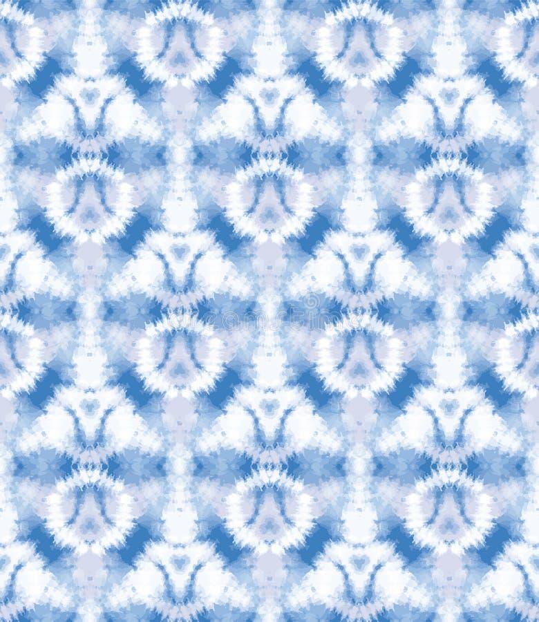 Fundo de cor de queimadura solar Blurry shibori Padrão sem costura círculo irregular sobre fundo branco resistente estilo japonês ilustração royalty free