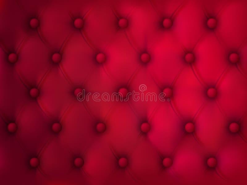 Fundo de couro abotoado, tela acolchoada vermelha ilustração do vetor