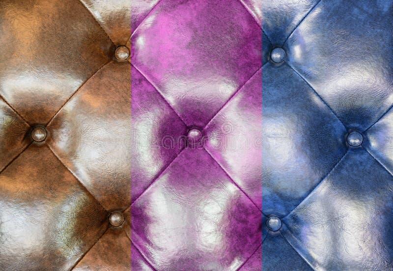 Fundo de couro de Brown, cor-de-rosa e azul de estofamento do sofá ilustração stock