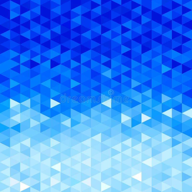 Fundo de cristal azul Teste padrão do triângulo Fundo azul de cristais geométricos da imitação das formas ilustração do vetor
