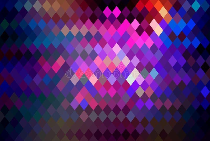 Fundo de cristal quadriculado do mosaico luxuoso Papel de parede abstrato colorido roxo cor-de-rosa lilás do vermelho de azul Fes ilustração royalty free