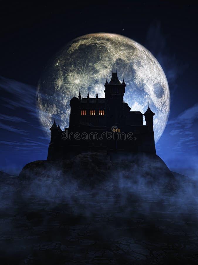 fundo de 3D Dia das Bruxas com castelo assustador ilustração do vetor