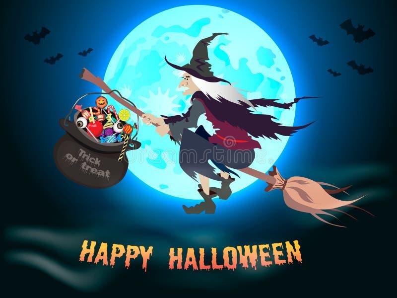 Fundo de Dia das Bruxas com bruxa do voo ilustração stock