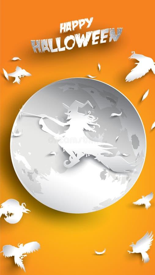 Fundo de Dia das Bruxas com a bruxa, o corvo, a lua e o cabo de vassoura na arte de papel cinzelando o estilo bandeira, cartaz, t ilustração stock