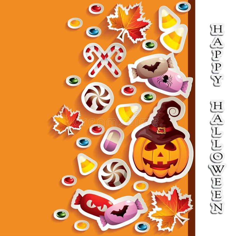Fundo de Dia das Bruxas com doces e lanterna de Jack O ilustração royalty free