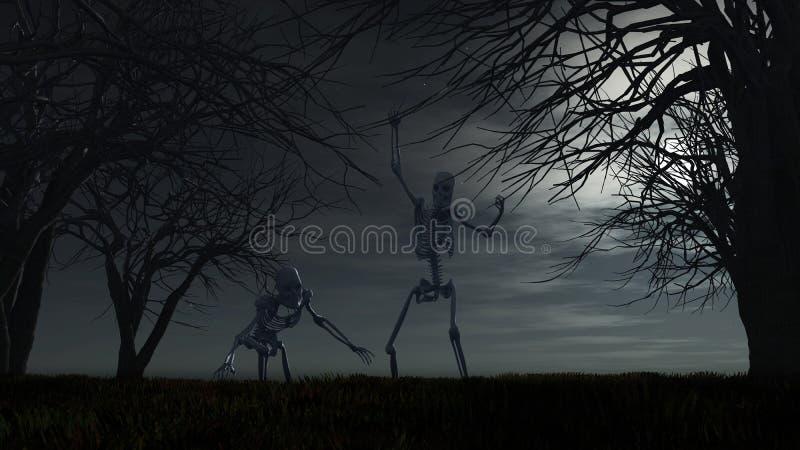 Fundo de Dia das Bruxas com esqueletos ilustração royalty free