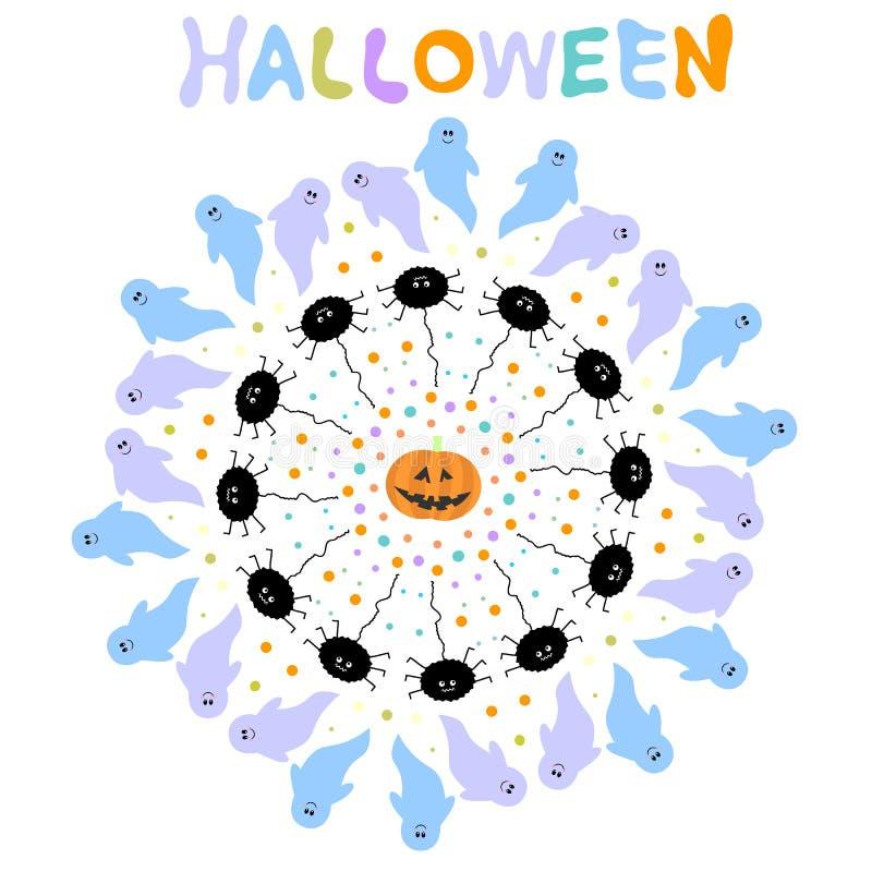 Fundo de Dia das Bruxas com fantasmas, aranhas, pontos e abóbora ilustração do vetor