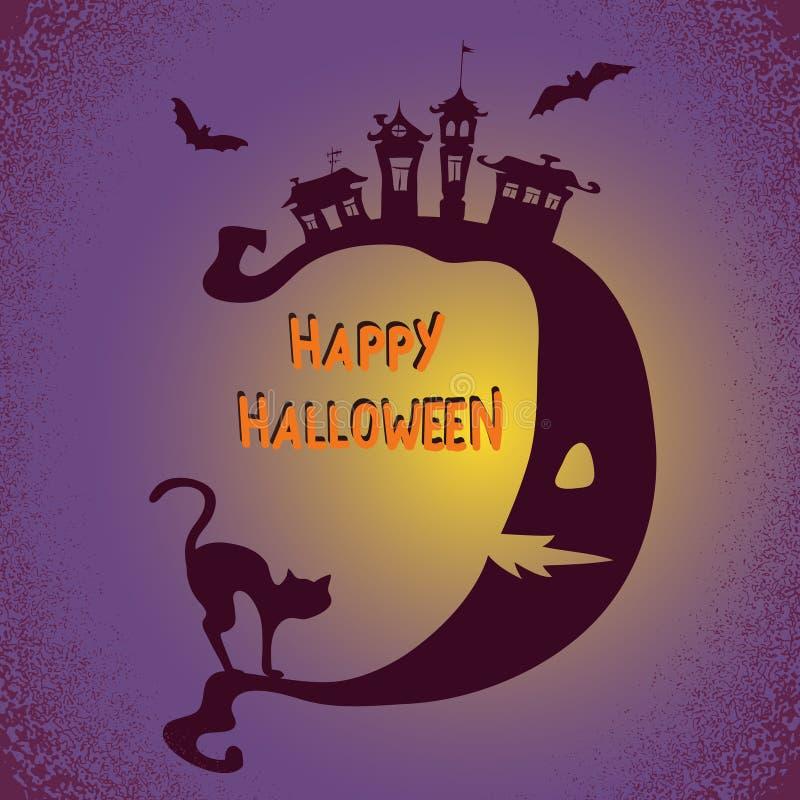 Fundo de Dia das Bruxas com lua e o gato preto Ilustração do feriado do vetor ilustração do vetor