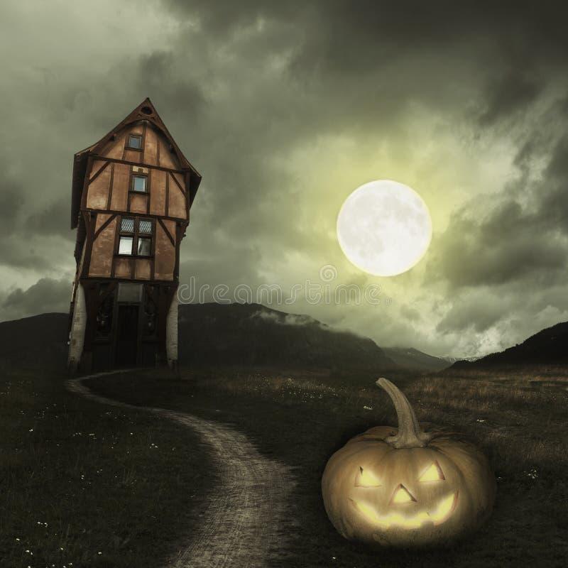 Fundo de Dia das Bruxas com a lua velha da ab?bora da casa imagem de stock royalty free