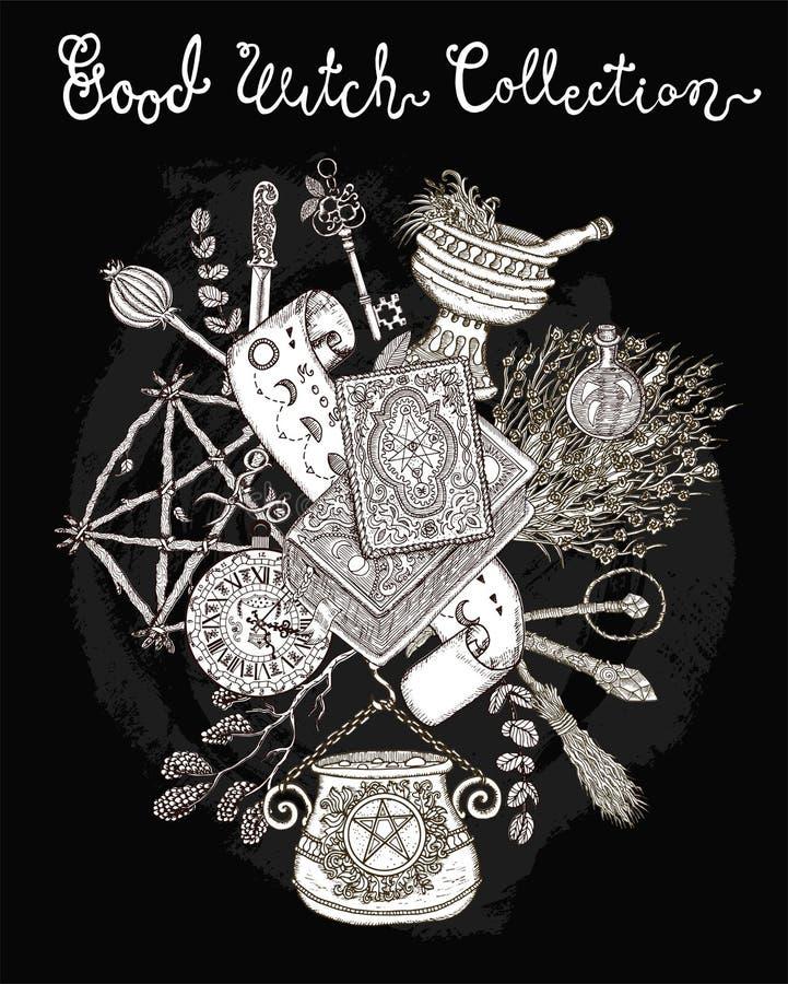 Fundo de Dia das Bruxas com símbolos tradicionais, objetos mágicos da bruxa, pentagram ilustração do vetor