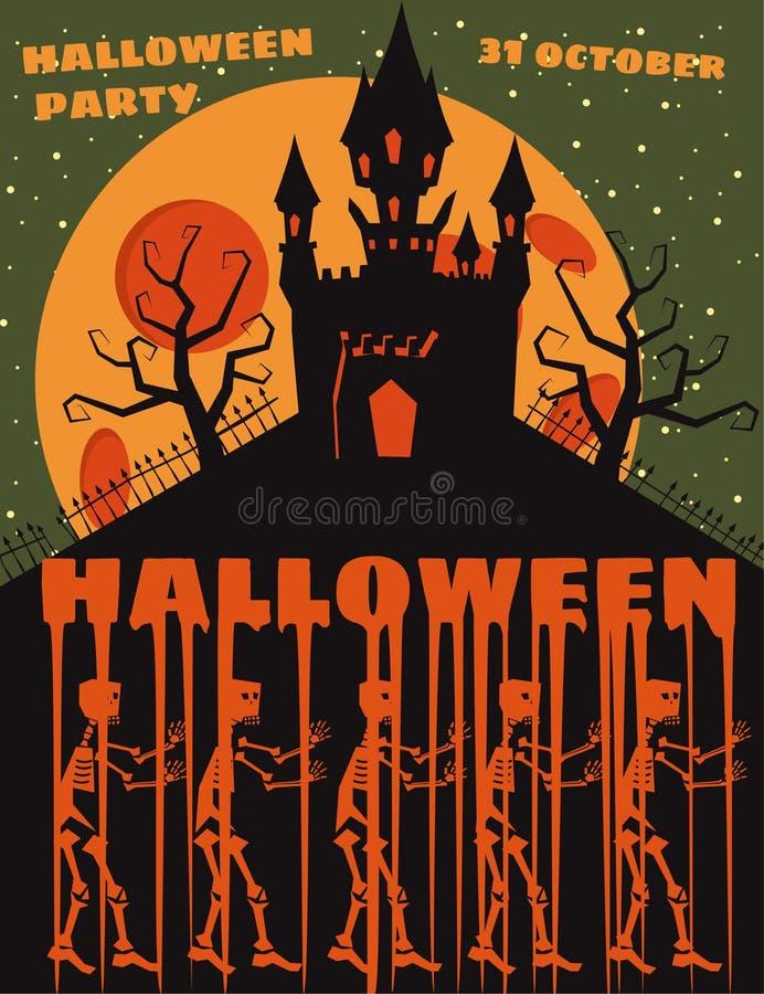 Fundo de Dia das Bruxas com semetery e sceletons, castelo assombrado, casa e Lua cheia Cartaz, inseto ou convite ilustração royalty free