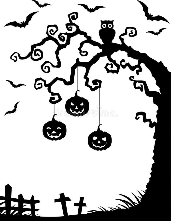 Fundo de Dia das Bruxas com a silhueta, a coruja e a abóbora inoperantes da árvore ilustração royalty free