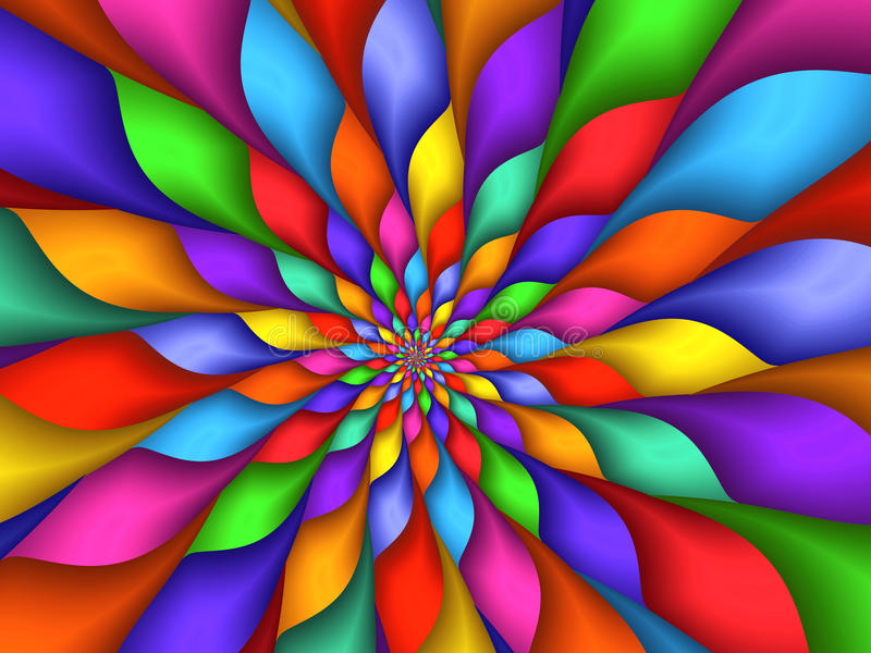 Fundo de Digitas Art Abstract Rainbow Petals Spiral imagens de stock royalty free