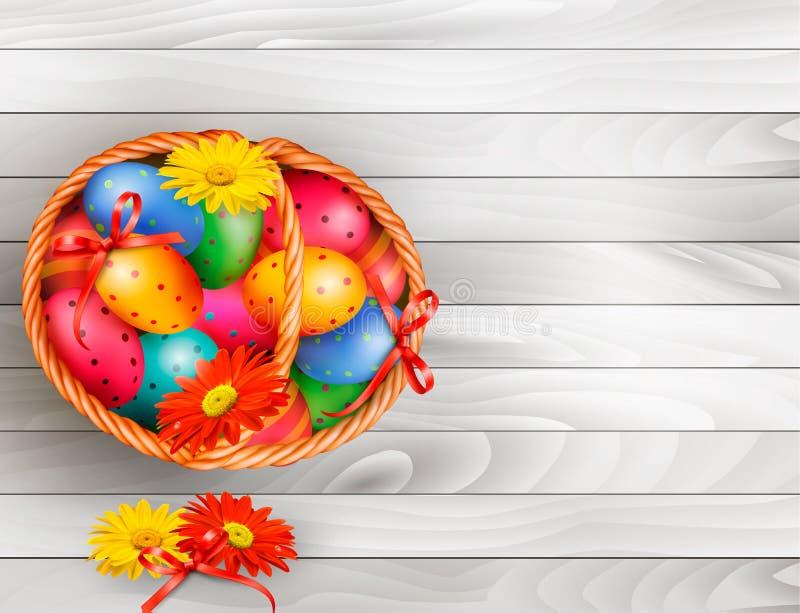 Fundo de Easter com os ovos da páscoa da cor na cesta ilustração do vetor